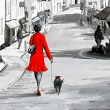 Richard-Telford-Red-Lady-With-Dog-Dunster-CLOSEUP